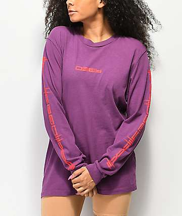 Obey Barbed Box Pigment Eggplant Long Sleeve T-Shirt