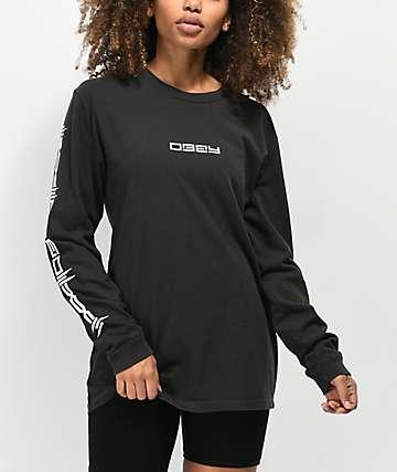 Obey Barbed Box camiseta negra de manga larga