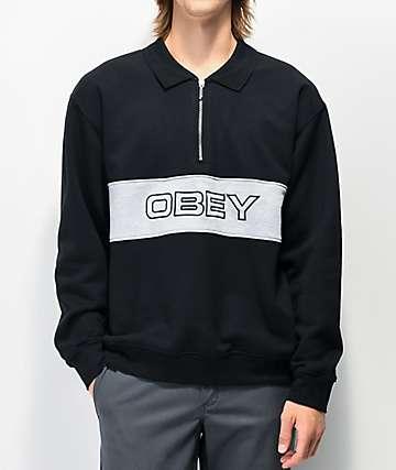 Obey Baron Black Half Zip Polo Sweatshirt