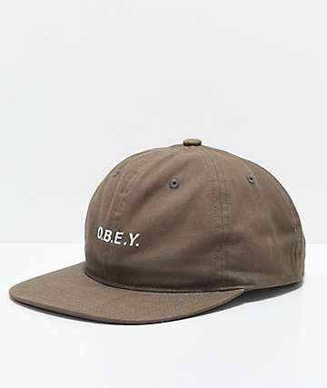 Obey Barrage Olive Brown Snapback Hat