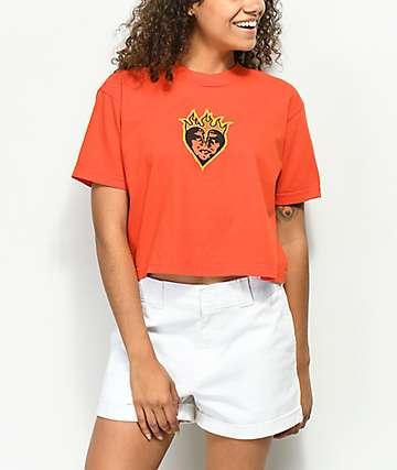 Obey Be Mine Orange Mock Neck Crop T-Shirt