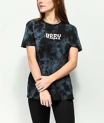 Obey Better Days Classic camiseta negra con efecto tie dye