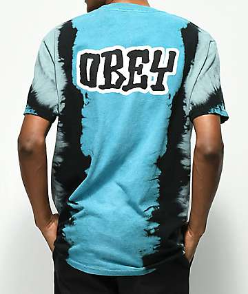 Obey Better Days camiseta azul con efecto tie dye