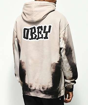 Obey Better Days sudadera negra con capucha y efecto tie dye