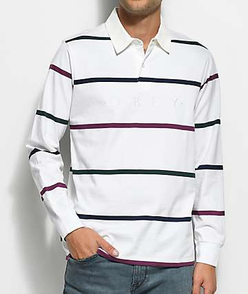 Obey Bridgewater White Long Sleeve Polo Shirt