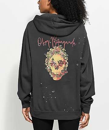 Obey Camden Flower Skull Black Hoodie