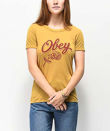 Obey Careless Whispers Ringer camiseta amarilla