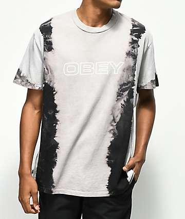 Obey Ceremony camiseta negra con efecto tie dye