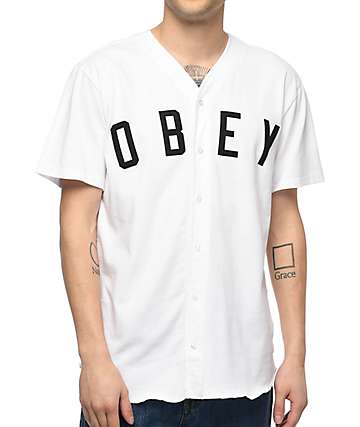 Obey Charlie White Baseball Jersey
