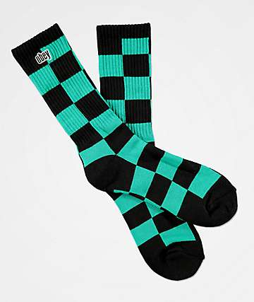 Obey Checkers Black & Teal Crew Socks