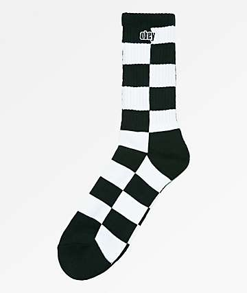 Obey Checkers Black & White Crew Socks