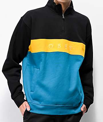Obey Chelsea Black, Yellow & Teal Quarter Zip Sweatshirt