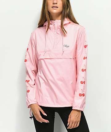 Obey Cherries chaqueta anorak rosa