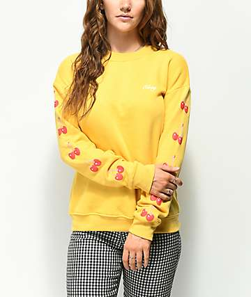 Obey Cherry Script Delancey Yellow Crew Neck Sweatshirt