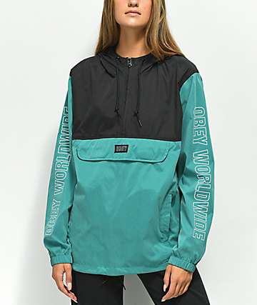 Obey Ciara Dusty Teal & Black Anorak Jacket