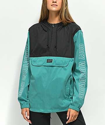 Obey Ciara Dusty chaqueta anorak azul y negra