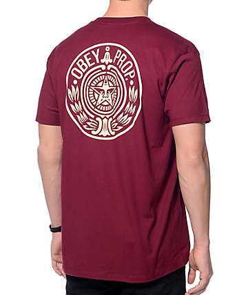 Obey Circular Wreath camiseta de color borgoña