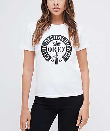 Obey Civil Disobedience Shrunken White T-Shirt