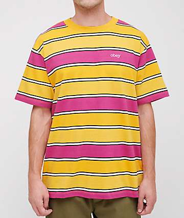 Obey Clover Box Yellow & Pink Striped T-Shirt