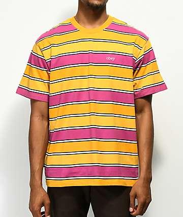Obey Clover camiseta de rayas naranja, rosa y amarillo
