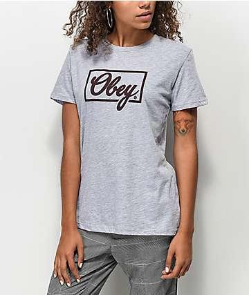 Obey Club Script Grey T-Shirt