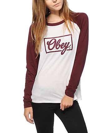 Obey Club Script Long Sleeve Raglan Shirt