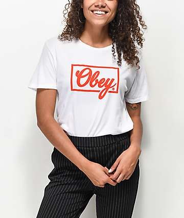 Obey Club Script White & Red T-Shirt