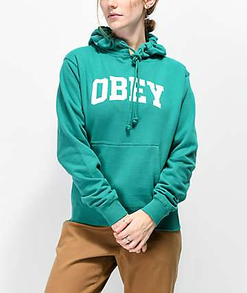 Obey Collegiate sudadera con capucha verde azul