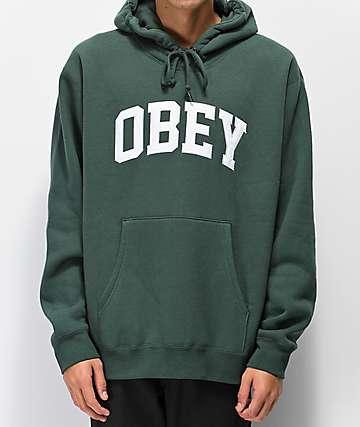 Obey Collegiate sudadera verde con capucha