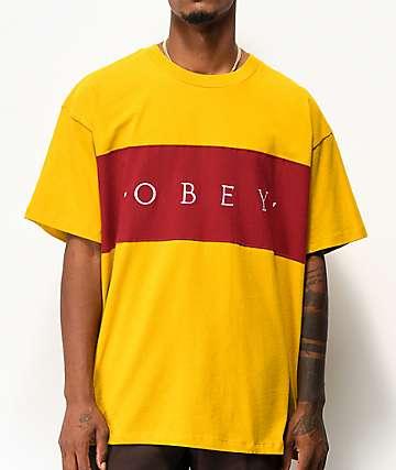 Obey Conrad Gold & Burgundy Knit T-Shirt