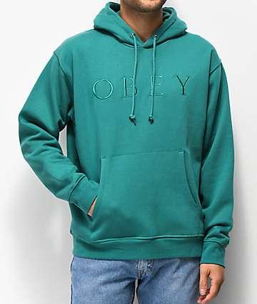 Obey Construct sudadera con capucha verde azulada bordada