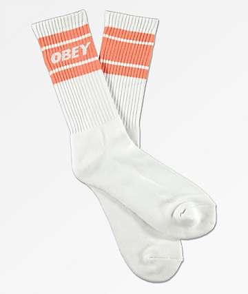 Obey Cooper II White & Coral Crew Socks