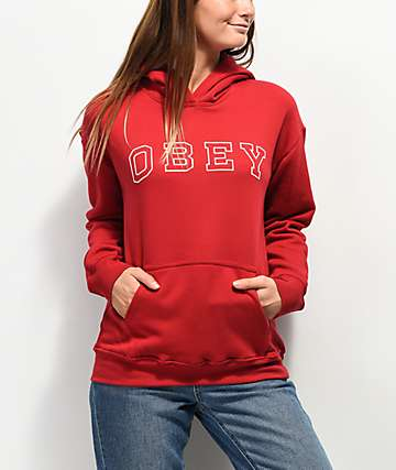 Obey Core Varsity Arched Delancey Red Hoodie