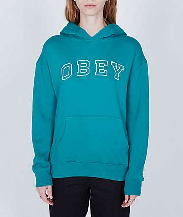 Obey Core Varsity Arched Teal Hoodie