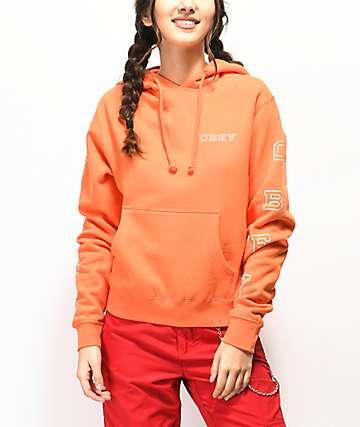 Obey Core Varsity Vertical sudadera con capucha naranja