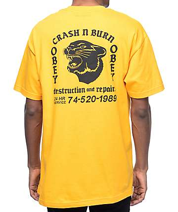 Obey Crash & Burn Gold T-Shirt