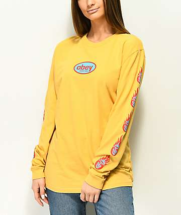 Obey Creeper Flame Dusty Yellow Long Sleeve T-Shirt