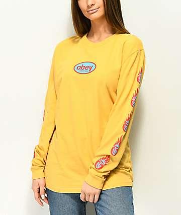 Obey Creeper Flame camiseta de manga larga amarilla polvoriento
