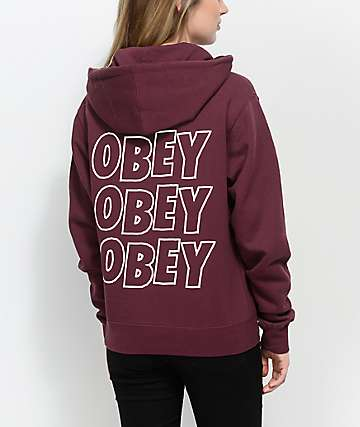 Obey Creeper Static Burgundy Hoodie