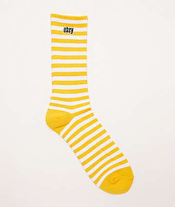 Obey Dale Energy Yellow & White Crew Socks