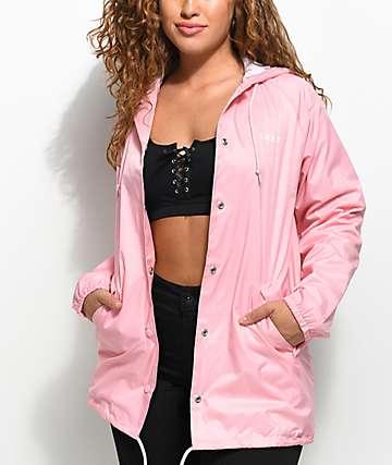 Obey Defiant Rose chaqueta entrenador con capucha en rosa clara