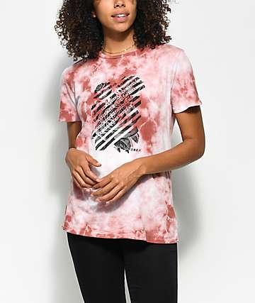 Obey Defiant camiseta en rosa polvareda con efecto tie dye