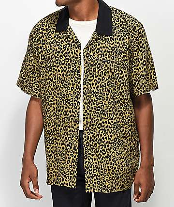 Obey Dirty Leo Tan & Black Leopard Print Woven Shirt