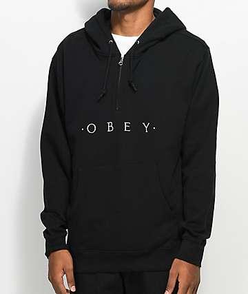 Obey Div Half Zip Black Hoodie