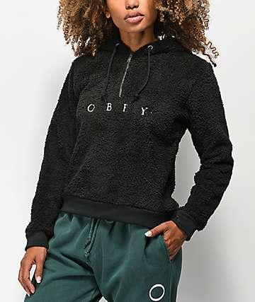 Obey Dolores sudadera con capucha de sherpa negra