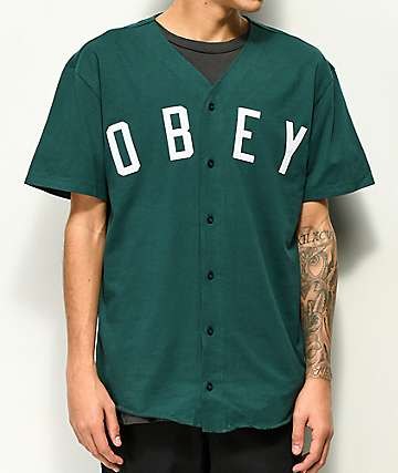 Obey Double Play Spruce jersey de béisbol en verde