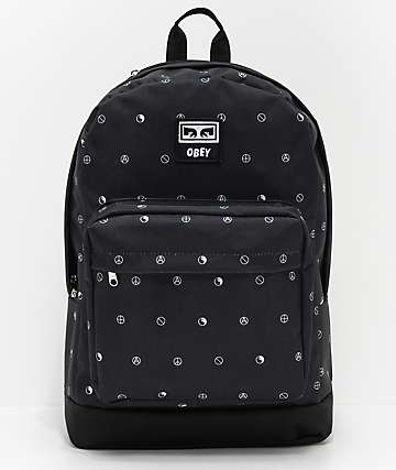 Obey Dropout Juvee Black & Symbol Pattern Backpack