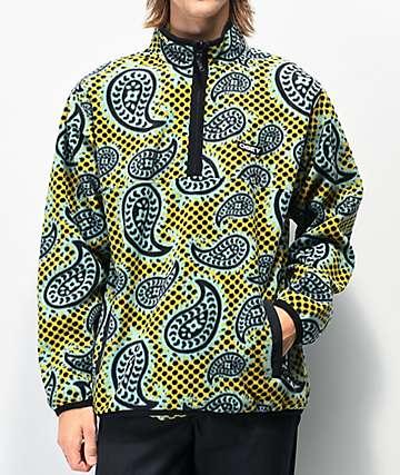 Obey Eisly Gold & Green Tech Fleece Sweatshirt