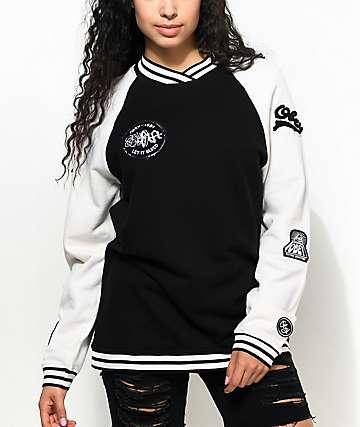 Obey Far Out Black & White Crew Neck Sweatshirt