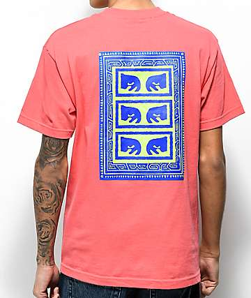 Obey Flashback camiseta en color coral